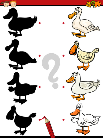 connects: Cartoon Illustration of Education Shadow Task for Preschool Children with Ducks Farm Animal Characters