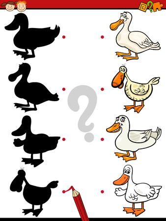 preescolar: Ejemplo de la historieta de la Educación de la sombra de tareas para niños en edad preescolar con Patos Granja Personajes de animales Vectores