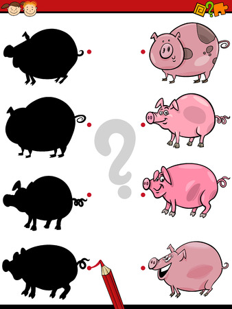 shadow match: Cartoon Illustration of Education Shadow Task for Preschool Children with Pigs Farm Animal Characters