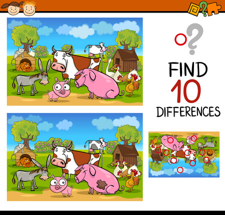 Cartoon Illustration of Differences Educational Test for Preschool Children with Farm Animals