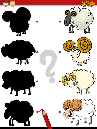 rams: Cartoon Illustration of Education Shadow Game for Preschool Children with Rams Farm Animal Characters Illustration