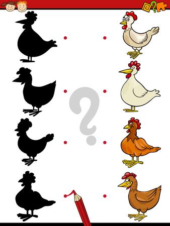 preescolar: Ejemplo de la historieta de la Educación de la sombra de tareas para niños en edad preescolar con caracteres Gallinas Animal de granja