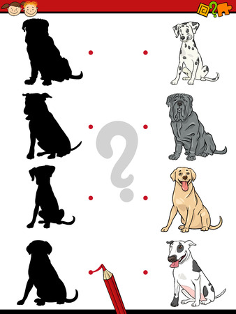 cartoon human: Cartoon Illustration of Education Shadow Task for Preschool Children with Purebred Dogs Animal Characters