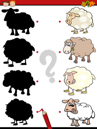 shadow match: Cartoon Illustration of Education Shadow Game for Preschool Children with Sheep Farm Animal Characters