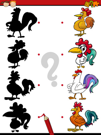 Cartoon Illustration of Education Shadow Task for Preschool Children with Roosters Farm Animal Characters