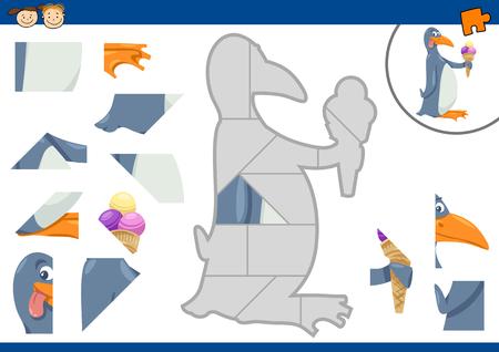 preescolar: Cartoon Ilustración de Jigsaw Puzzle Educación de tareas para niños en edad preescolar con Carácter Pingüino Animal