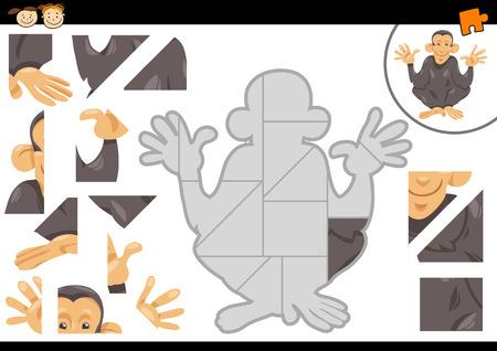 cartoon child: Cartoon Illustration of Educational Jigsaw Puzzle Task for Preschool Children with Chimpanzee Animal Character