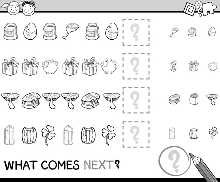 next: Black and White Cartoon Illustration of Completing the Pattern Educational Task for Preschool Children