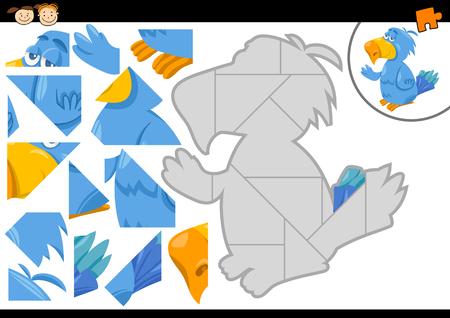 preescolar: Cartoon Ilustración de Jigsaw Puzzle Educación de tareas para niños en edad preescolar con el carácter del pájaro del loro Animal