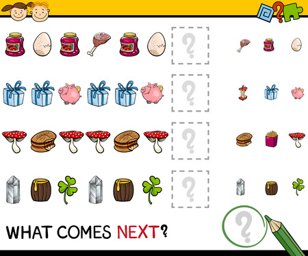 next to: Cartoon Illustration of Completing the Pattern Educational Task for Preschool Children Illustration