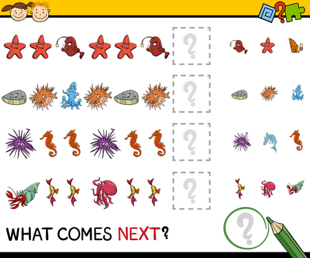 brain teaser: Cartoon Illustration of Completing the Pattern Educational Task for Preschool Children with Sea Animals
