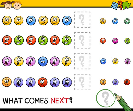 next to: Cartoon Illustration of Completing the Pattern Educational Task for Preschool Children with Emotions Signs