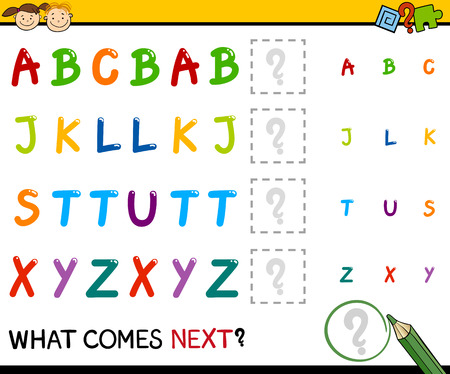 next to: Cartoon Illustration of Completing the Pattern Educational Task for Preschool Children with Alphabet Letters