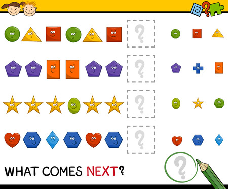 shapes cartoon: Cartoon Illustration of Completing the Pattern Educational Task for Preschool Children with Basic Geometric Shapes Illustration
