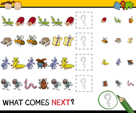 next to: Cartoon Illustration of Completing the Pattern Educational Task for Preschool Children with Insects