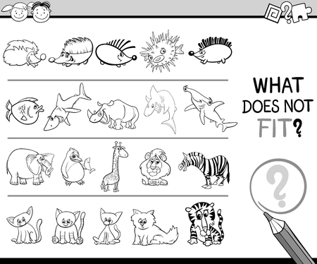 improper: Black and White Cartoon Illustration of Finding Improper Item in the Row Educational Game for Preschool Children with Animal Characters Illustration