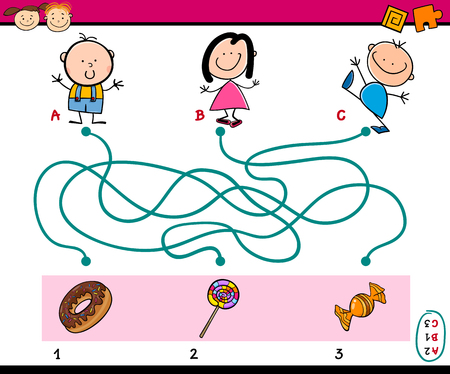 Cartoon Illustration of Education Paths or Maze Puzzle Task for Preschoolers with Children and Sweets
