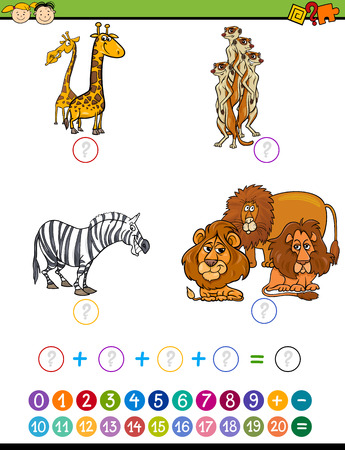 addition: Cartoon Illustration of Education Mathematical Addition Task for Preschool Children with Safari Animals