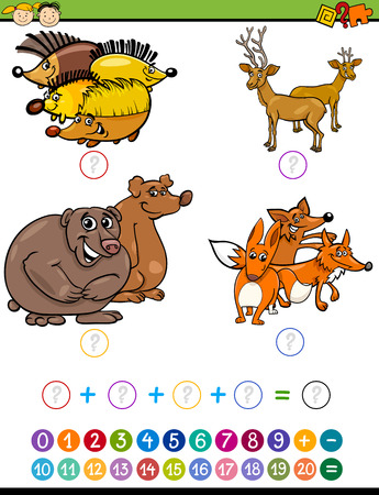 enumerate: Cartoon Illustration of Education Mathematical Addition Task for Preschool Children with Forest Animals