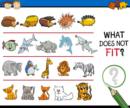 improper: Cartoon Illustration of Finding Improper Item in the Row Educational Game for Preschool Children with Animal Characters Illustration