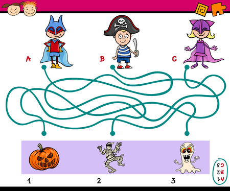 preschoolers: Cartoon Illustration of Education Paths or Maze Puzzle Task for Preschoolers with Children and Halloween Themes