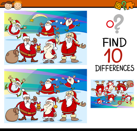 Cartoon Illustration of Finding Differences Educational Task for Preschool Children with Santa Claus