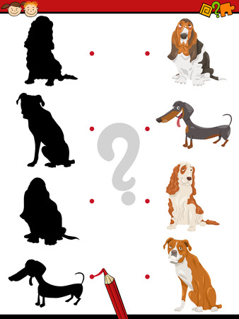 purebred: Cartoon Illustration of Education Shadow Task for Preschool Children with Purebred Dogs Animal Characters