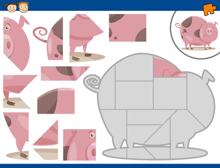 task: Cartoon Illustration of Educational Jigsaw Puzzle Task for Preschool Children with Farm Pig Animal Character