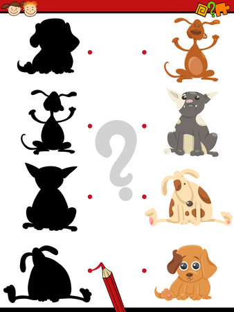 shadow silhouette: Cartoon Illustration of Educational Shadow Task for Children with Dogs Animal Characters Illustration