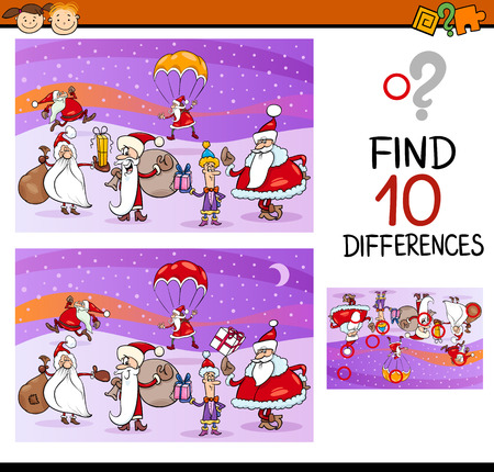 ready: Cartoon Illustration of Differences Educational Game for Preschool Children with Santa Clauses Illustration