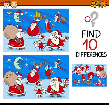 ready: Cartoon Illustration of Differences Kindergarten Task for Children with Christmas Characters