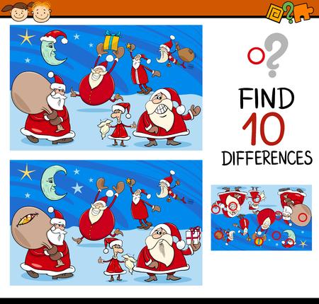 kindergarten: Cartoon Illustration of Differences Kindergarten Task for Children with Christmas Characters