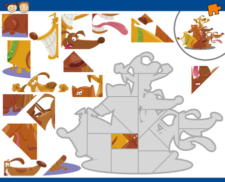 brain teaser: Cartoon Illustration of Educational Jigsaw Puzzle Task for Preschool Children with Dogs Animal Characters