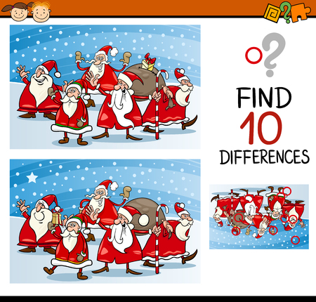 spot the difference: Cartoon Illustration of Differences Educational Task for Preschool Children with Christmas Characters Illustration