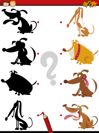 dog school: Cartoon Illustration of Education Shadow Task for Preschool Children with Dogs Animal Characters Illustration