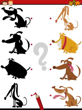 silueta humana: Ejemplo de la historieta de la Educaci�n de la sombra de tareas para ni�os en edad preescolar con caracteres Perros animales Vectores