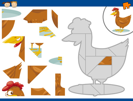 brain teaser: Cartoon Illustration of Educational Jigsaw Puzzle Task for Preschool Children with Farm Chicken Animal Character