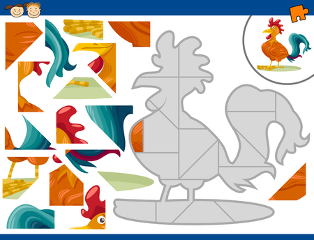 brain teaser: Cartoon Illustration of Educational Jigsaw Puzzle Task for Preschool Children with Farm Rooster Animal Character