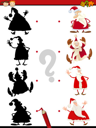 brain teaser: Cartoon Illustration of Educational Shadow Task for Children with Funny Santa Claus Characters