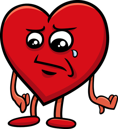 Cartoon Illustration of Sad Heart Character on Valentine Day