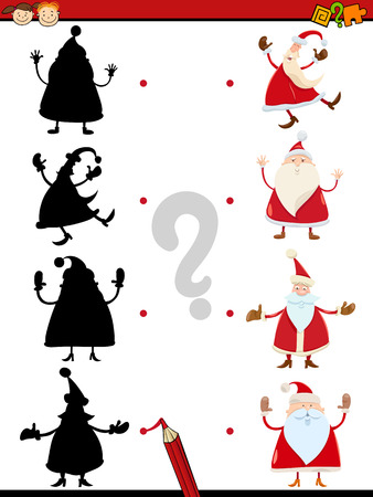 search solution: Cartoon Illustration of Educational Shadow Task for Children with Santa Characters