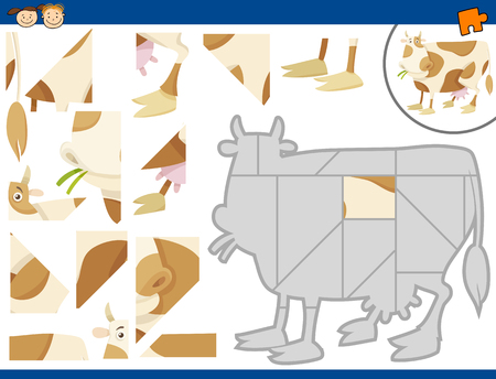 task: Cartoon Illustration of Educational Jigsaw Puzzle Task for Preschool Children with Farm Cow Animal Character Illustration