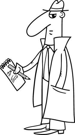 journalists: Black and White Cartoon Illustration of Detective or Journalist with Notepad and Pencil for Coloring Book