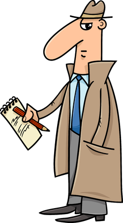 operative: Cartoon Illustration of Detective or Journalist with Notepad and Pencil Illustration