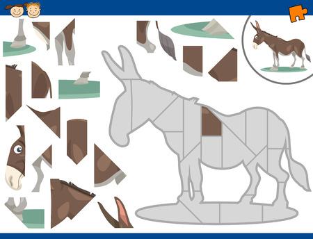 burro: Cartoon Ilustraci�n de Jigsaw Puzzle Educaci�n de tareas para ni�os en edad preescolar con Car�cter Burro Animal