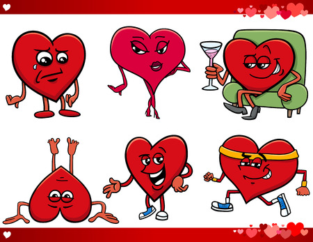 sad love: Cartoon Illustration of Valentines Day and Love Themes Collection Set with Heart Characters