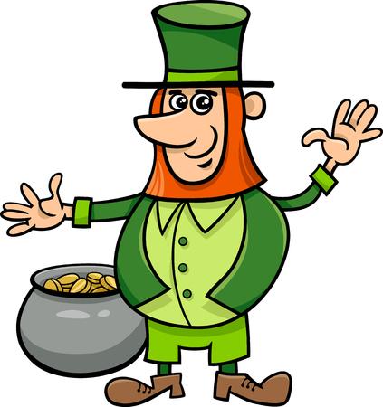 saint patrick: Cartoon Illustration of Leprechaun on Saint Patrick Day with Pot of Golden Coins Illustration