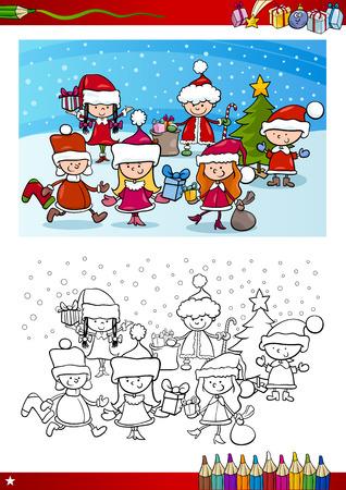 children santa claus: Coloring Book Cartoon Illustration of Children Santa Claus Group on Christmas Time