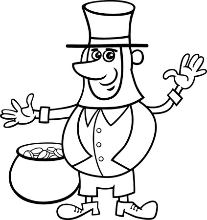 leprechaun: Black and White Cartoon Illustration of Leprechaun on Saint Patrick Day with Pot of Golden Coins for Coloring Book
