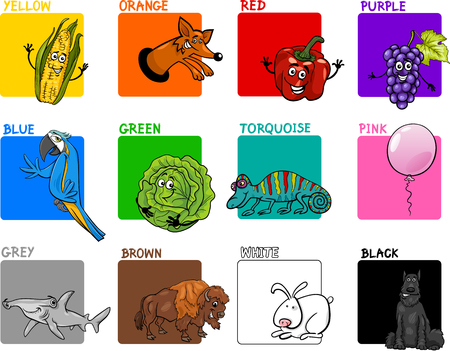 primary colors: Cartoon Illustration of Primary Colors with Animals and Objects Educational Set for Preschool Children